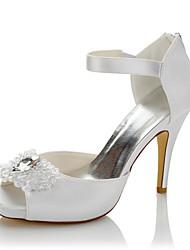 cheap -Women's Heels Stiletto Heel Peep Toe Crystal Satin Comfort Summer / Fall White / Wedding / Party & Evening