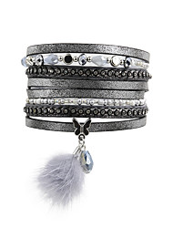 cheap -Women's Crystal Wrap Bracelet Leather Bracelet Beads Drop Butterfly Animal Luxury Leather Bracelet Jewelry Gray For Christmas Gifts Wedding Party Daily Casual Sports / Imitation Diamond / Rhinestone