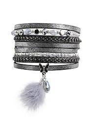 abordables -Bracelets Plusieurs Tours Bracelets en cuir Bracelets de mémoire Femme Perles Cristal Cuir Strass Imitation Diamant Goutte Papillon Animal Luxe Bracelet Bijoux Gris pour Regalos de Navidad Mariage