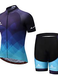 abordables -Miloto Homme Manches Courtes Maillot et Cuissard de Cyclisme - Bleu Vélo Shorts Rembourrés / Ensemble de Vêtements Spandex Pente / Elastique