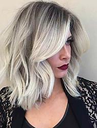 Недорогие -Человеческие волосы Парик Классика Естественные волны Классика Естественные волны Машинное плетение Черный / серый Повседневные