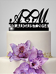 cheap -Cake Topper Classic Theme / Wedding Funny & Reluctant / Monogram Plastic Wedding / Anniversary with 1 pcs Poly Bag