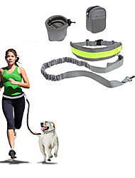 cheap -Dog Hands Free Leash Slip Lead Reflective Portable Foldable Solid Colored Nylon Cotton Black Gray