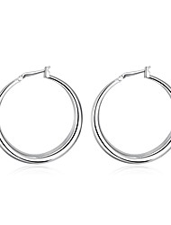 cheap -Women's Hoop Earrings Machete Ladies Simple Euramerican Small Silver Plated Earrings Jewelry Silver For Daily
