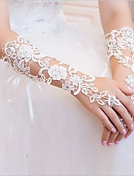 cheap -Lace Elbow Length Glove Bridal Gloves With Rhinestone / Appliques / Floral
