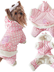 cheap -Dog Jumpsuit Polka Dot Casual / Daily Keep Warm Winter Dog Clothes Pink Beige Costume Cotton XXS XS S M L XL
