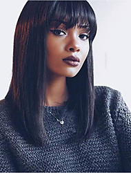 cheap -Virgin Human Hair Remy Human Hair Glueless Lace Front Lace Front Wig Brazilian Hair Yaki Straight Wig Bob Short Bob Straight bangs 130% 150% Density with Baby Hair Natural Hairline African American