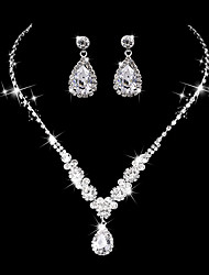 cheap -Women's AAA Cubic Zirconia Drop Earrings Choker Necklace Bridal Jewelry Sets Drop Luxury Vintage Elegant Cubic Zirconia Earrings Jewelry Silver For Wedding Anniversary Party Evening Engagement