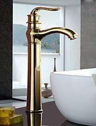 Недорогие -Ванная раковина кран - Высокое качество Ti-PVD По центру Одной ручкой одно отверстие
