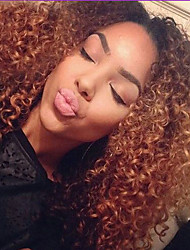 cheap -Synthetic Wig Curly Curly Wig Ombre Medium Length Ombre Black / Medium Auburn Synthetic Hair Women's Ombre Hair Dark Roots Natural Hairline Ombre / African American Wig