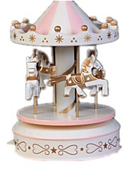 cheap -Balls Music Box Snow Globe Carousel Music Box Horse Carousel Merry Go Round Cute Furnishing Articles Unique Plastics Wooden Crystal Women's Unisex Girls' Kid's Adults Kids Graduation Gifts Toy Gift