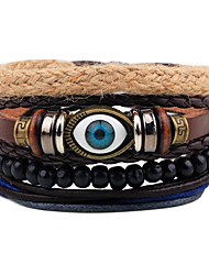 cheap -Men's Bead Bracelet Wrap Bracelet Leather Bracelet Rope woven Evil Eye Personalized Punk Wooden Bracelet Jewelry Black For Gift Daily Casual Going out Club