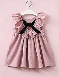 cheap -Toddler Girls' Ruffle Bow Patchwork Sleeveless Dress Blushing Pink / Cotton