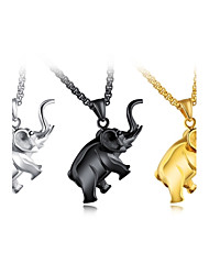 cheap -Men's Pendant Necklace Foxtail chain Elephant Animal Personalized Classic Fashion Hip-Hop Titanium Steel Metal Gold Black Silver Necklace Jewelry For Party New Baby Gift Street Club