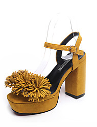 cheap -Women's Sandals Chunky Heel Open Toe Buckle / Tassel PU Basic Pump Spring / Summer Yellow / Pink / Black / Party & Evening / Party & Evening