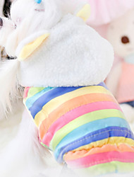 cheap -Dog Hoodie Winter Dog Clothes Rainbow Costume Cotton Princess Casual / Daily XS S M L XL