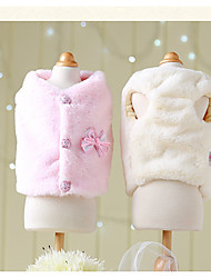 cheap -Dog Coat Winter Dog Clothes Pink Beige Costume Plush Fabric Cotton Princess Casual / Daily XS S M L XL