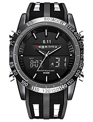 cheap -Men's Casual Watch Sport Watch Military Watch Japanese Quartz Silicone Black 30 m Water Resistant / Waterproof Calendar / date / day Chronograph Analog Luxury Vintage Casual Bohemian Bangle - Black