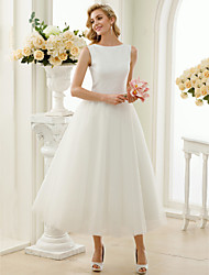 cheap -A-Line Wedding Dresses Bateau Neck Tea Length Tulle Sequined Regular Straps Simple Little White Dress with Lace Sequin 2020