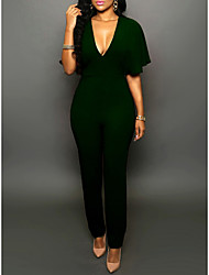 cheap -Women's Weekend Deep V Wine Army Green Slim Jumpsuit Onesie, Solid Colored Flare Sleeve S M L Short Sleeve