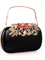cheap -Women's Rhinestone leatherette Evening Bag Black / Silver
