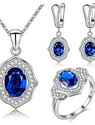 cheap -Women's Sapphire AAA Cubic Zirconia Drop Earrings Pendant Necklace Ring Geometrical Solitaire Ladies Luxury Geometric Simple Style Fashion Cute Sterling Silver Cubic Zirconia Earrings Jewelry Dark