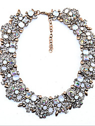 cheap -Women's Synthetic Aquamarine Crystal Cubic Zirconia Collar Necklace Ladies Personalized Classic Vintage Crystal Black Yellow Pink Necklace Jewelry For Christmas Wedding Party Birthday New Baby