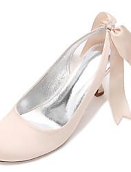 cheap -Women's Wedding Shoes Kitten Heel / Low Heel / Stiletto Heel Round Toe Bowknot / Satin Flower / Lace-up Satin Comfort / Basic Pump / Ankle Strap Spring / Summer Blue / Champagne / Ivory / EU39