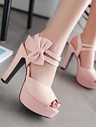 cheap -Women's Heels Chunky Heel Peep Toe Bowknot PU(Polyurethane) Comfort Summer Light Purple / Pink / Almond / EU42