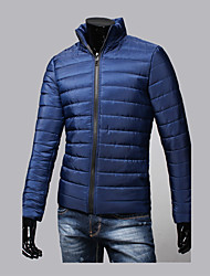 cheap -Men's Winter Padded Parka Daily Going out Color Block Solid Colored Polyester Long Sleeve Stand Collar White / Black / Red M / L / XL / Slim