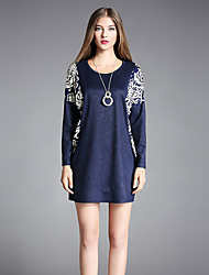 cheap -Women's Daily / Going out Vintage Loose Tunic Dress - Floral Print Fall Blue XXXL XXXXL XXXXXL