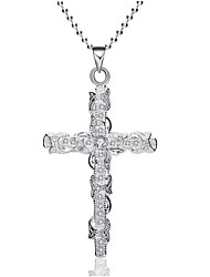 cheap -Men's Women's Pendant Necklace Cross Simple Imitation Diamond Alloy Silver Necklace Jewelry For Daily