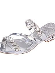 cheap -Women's Sandals Flat Heel Cap-Toe Rhinestone PU(Polyurethane) Comfort / Novelty / Slingback Spring / Fall Gold / Silver / Wedding / Party & Evening / Party & Evening