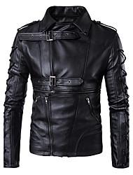 cheap -Men's Daily Fall / Winter Regular Jacket, Solid Colored Shirt Collar Long Sleeve PU Basic Black / Slim