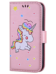 cheap -Case For LG LG K10 / LG K8 / LG K7 Card Holder / with Stand / Flip Full Body Cases Unicorn Hard PU Leather