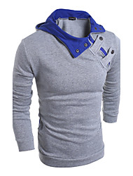 cheap -Men's Daily Active Plus Size Cotton T-shirt - Color Block Print Hooded Camel / Long Sleeve / Spring / Fall