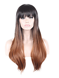 cheap -Synthetic Wig Straight Straight Wig Ombre Medium Length Black / Dark Auburn Synthetic Hair Women's Ombre Hair Ombre