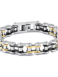 cheap -Men's AAA Cubic Zirconia Chain Bracelet Star Punk Rock Gothic Fashion Hip-Hop Cubic Zirconia Bracelet Jewelry White For Gift Evening Party Street Going out / Titanium Steel / Gold Plated