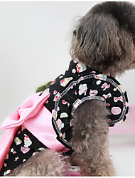 cheap -Dog Vest Dog Clothes Geometric Black Pink Cotton Costume For Spring &  Fall Summer Men's Women's Casual / Daily