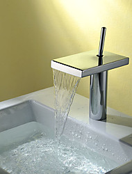 cheap -Bathroom Sink Faucet - Waterfall Chrome Centerset Single Handle One Hole / Brass