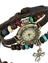 cheap -Women's Fashion Watch Bracelet Watch Quartz PU Band Brown