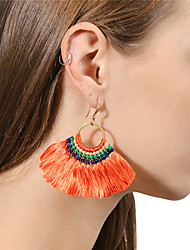 cheap -Women's Pearl Drop Earrings Raffia Earrings Floral / Botanicals Ladies Tassel Vintage Bohemian Fashion Boho Earrings Jewelry Red / Light Pink / Royal Blue For Gift Daily Ceremony Casual Stage Date