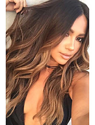 cheap -Human Hair Glueless Full Lace Full Lace Wig Layered Haircut Rihanna style Brazilian Hair Wavy Body Wave Ombre Wig 130% Density with Baby Hair Ombre Hair Natural Hairline African American Wig 100