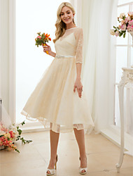 cheap -A-Line Bateau Neck Knee Length Lace / Charmeuse Made-To-Measure Wedding Dresses with Bow(s) / Sash / Ribbon by LAN TING BRIDE®