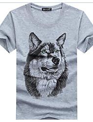 cheap -Men's Going out Active Cotton / Linen Slim T-shirt - Animal Wolf, Print Round Neck White / Summer