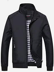 cheap -Men's Daily Basic Spring / Fall Regular Jacket, Solid Colored Stand Long Sleeve Cotton Blue / Black