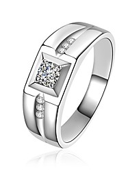 cheap -Men's Band Ring Groove Rings Cubic Zirconia Gold Silver Sterling Silver Zircon Metal Circle Geometric Luxury Classic Bling Bling Christmas Wedding Jewelry Geometrical Solitaire Radiant Cut Multi-ways