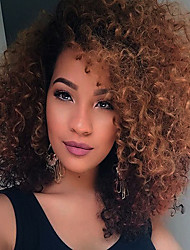 cheap -Synthetic Wig Curly Curly Wig Ombre Medium Length Black / Dark Auburn Synthetic Hair African American Wig Ombre