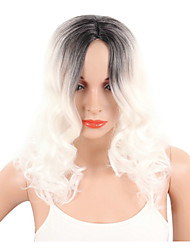 cheap -Synthetic Wig Curly Wavy Curly Wavy Pixie Cut Wig Short White Synthetic Hair Women's Middle Part Bob Ombre Hair White