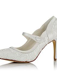 cheap -Women's Heels Stiletto Heel Pointed Toe Button Net / Satin Basic Pump Fall / Winter Ivory / Wedding / Party & Evening